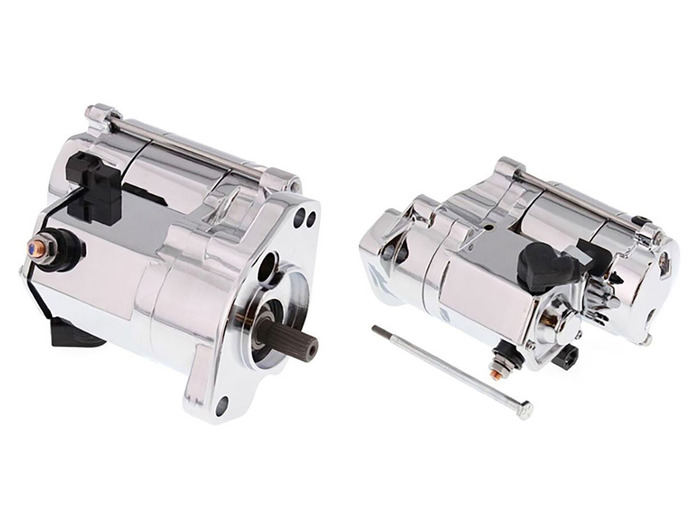 1.4kw Racing Starter Motor with Chrome Finish. Fits Big Twin 1989-2006.