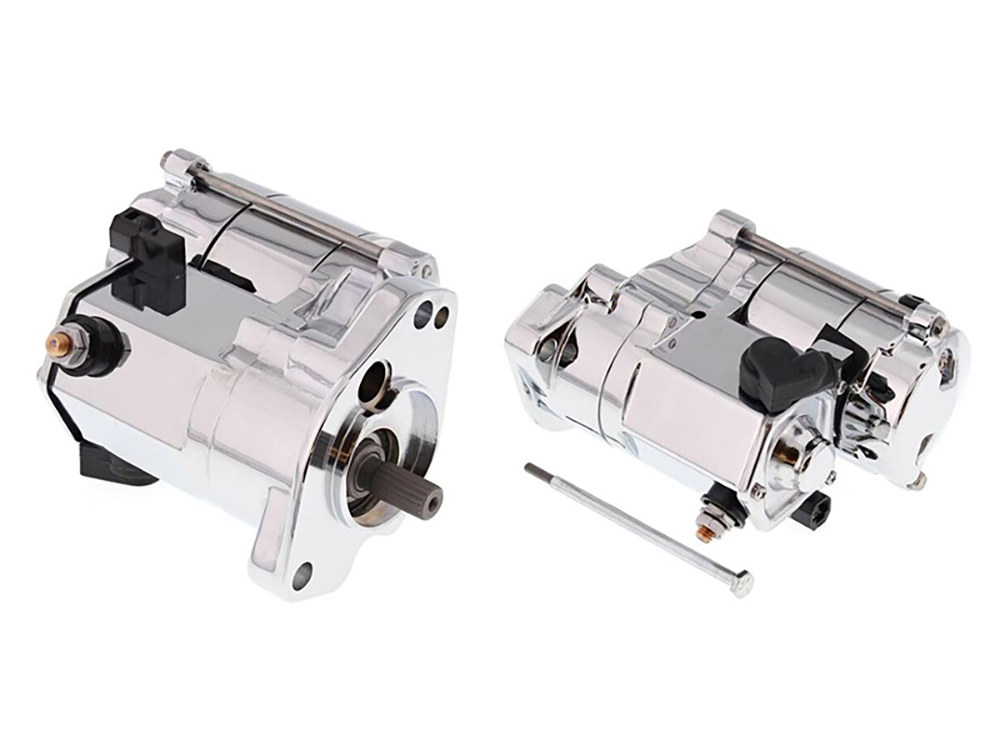 1.7kw Racing Starter Motor with Chrome Finish. Fits Big Twin 1989-2006.