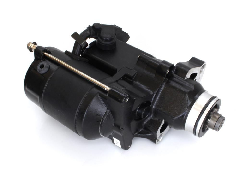 1.4kw Racing Starter Motor with Black Finish. Fits Big Twin 2007up & Dyna 2006up Models with OEM 6 Speed Transmission.