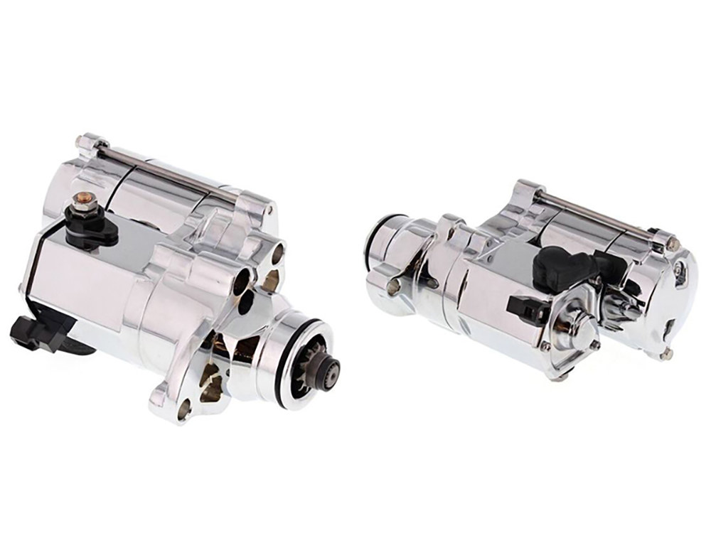 1.4kw Racing Starter Motor with Chrome Finish. Fits Big Twin 2007up & Dyna 2006up Models with OEM 6 Speed Transmission.