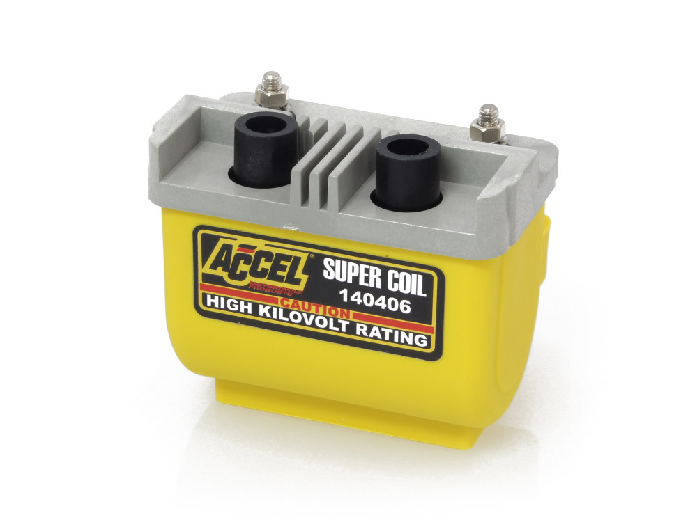 Super Coil; Big Twin & Sportster'65up, with Points Ignition, 4.7 Ohms, Yellow Finish