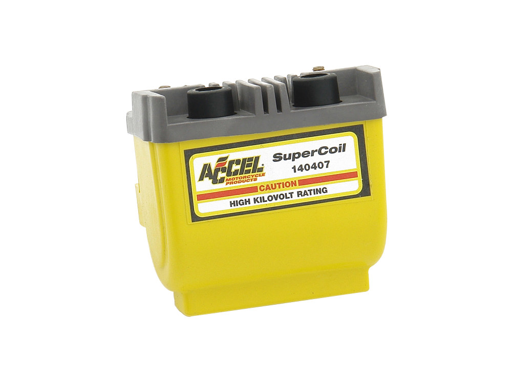 Accel Coil; Big Twin'83-99 & Sportster'83-03, Dual Fire, 2.3Ohms, Yellow Finish. Excludes EFI