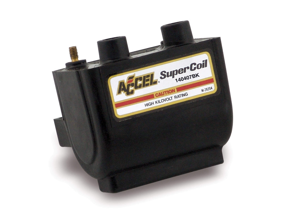 Accel Coil; Big Twin'83-99 & Sportster'83-03, Dual Fire, 2.3Ohms, Black Finish. Excludes EFI