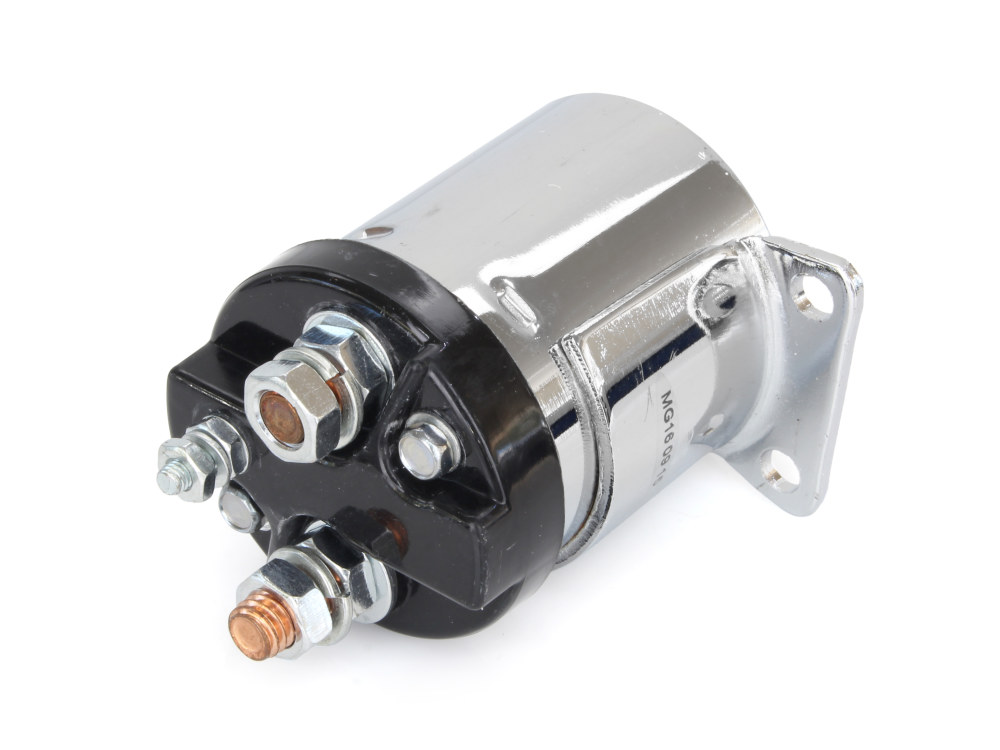 Starter Solenoid; Big Twin'65-86 4 Speed, Softail'84-88 & Sportster'67-80, Chrome Finish