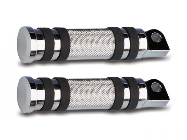 Footpegs; Knurled with Rubber, Chrome Finish (Pair)
