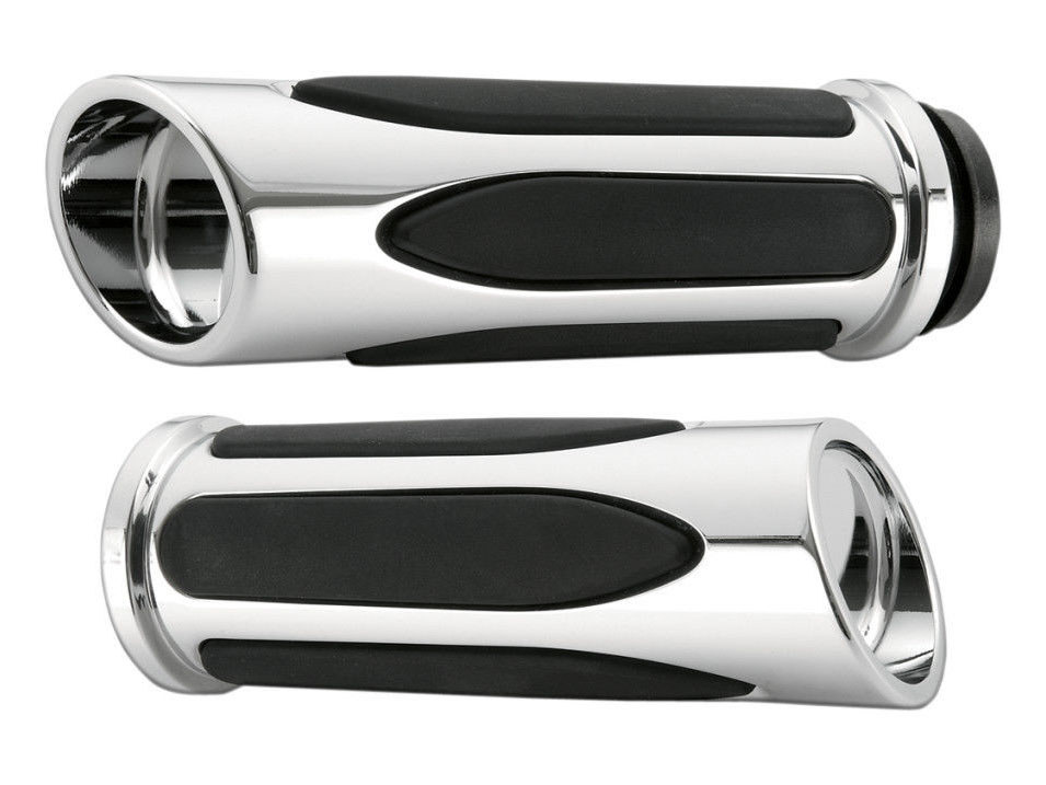 Handgrips; Deep Cut Comfort, Throttle Cable Application, Chrome Finish (Pair)