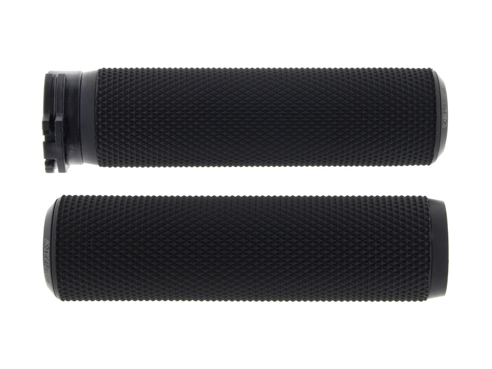 Handgrips; Knurled Fusion, Throttle Cable Application, Black Finish (Pair)