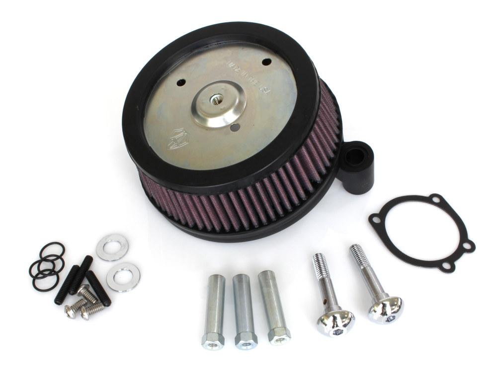 Arlen Ness Air Filter Assembly; Softail'00-14, Dyna'99-17 & Tourer'02-07. Stage 1 Big Sucker with High Flow Element & Black Finish.