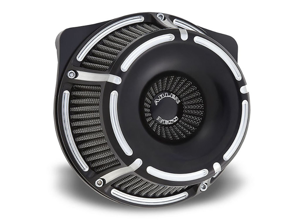Air Filter Assembly; Sportster'88up. Slot Track with High Flow Element & Black Finish.