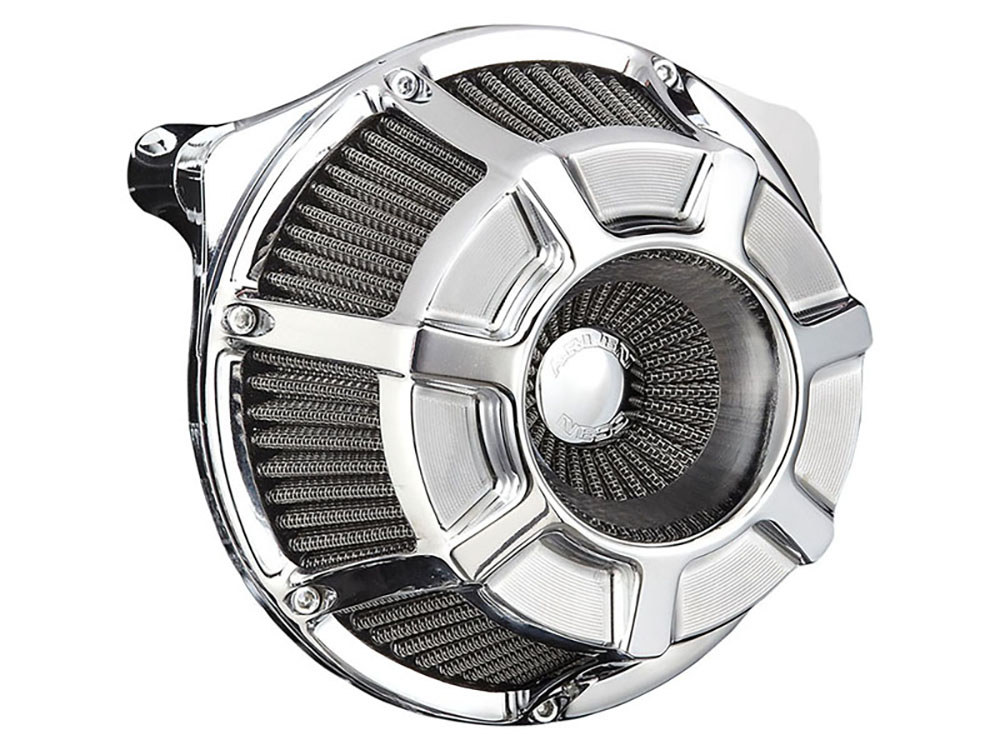 Arlen Ness Air Filter Assembly; Twin Cam'99up. Beveled with High Flow Element & Chrome Finish. Exclude Tourer'08up with TBW.