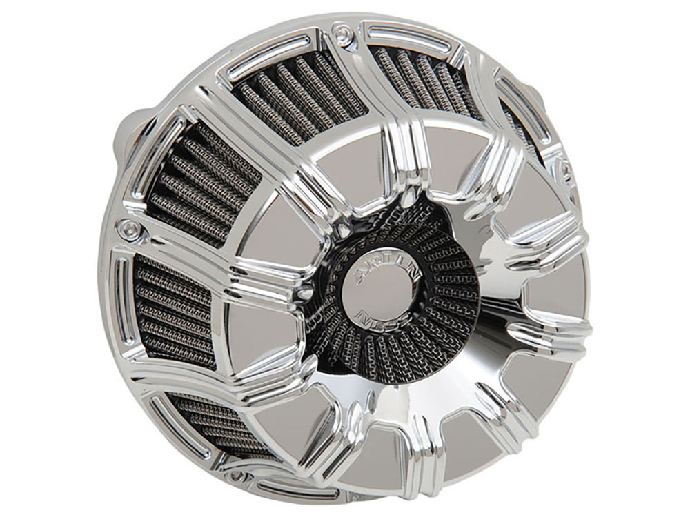 Air Filter Assembly; Tourer'08up. 10-Gauge with High Flow Element & Chrome Finish.