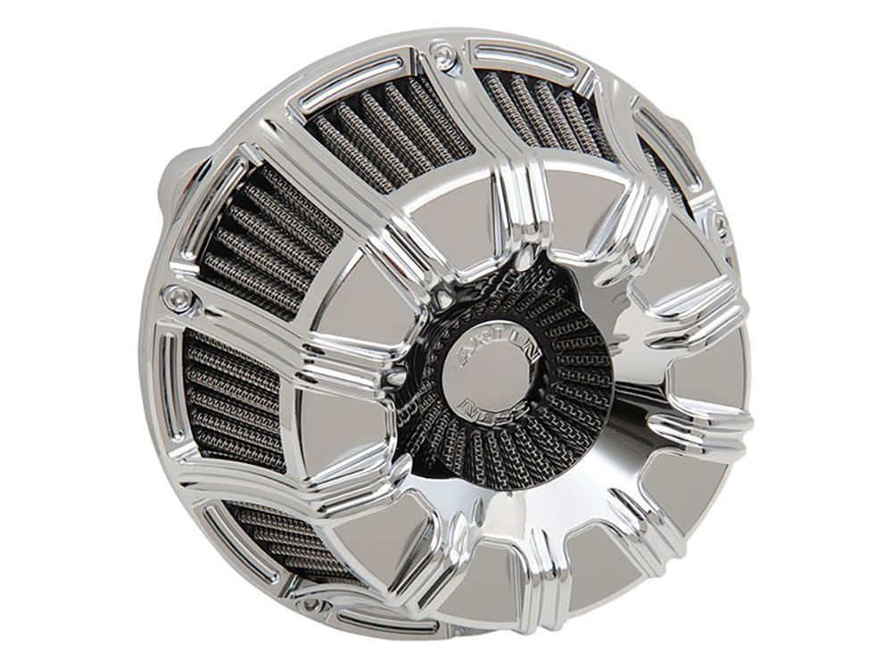 Air Filter Assembly; Twin Cam'99up. 10-Gauge with High Flow Element & Chrome Finish. Excludes Tourer'08up with TBW.