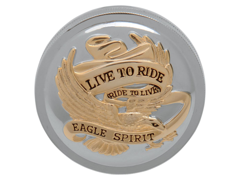 Live-to-Ride Right Hand Vented Screw-In Fuel Cap – Gold & Chrome. Fits H-D 1996up.