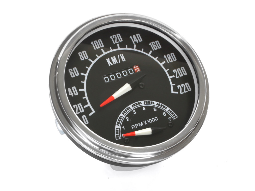 5in. KPH 1968-1984 Style Speedometer with Tachometer. Fits most Models with 5in. Fat Bob Dash.