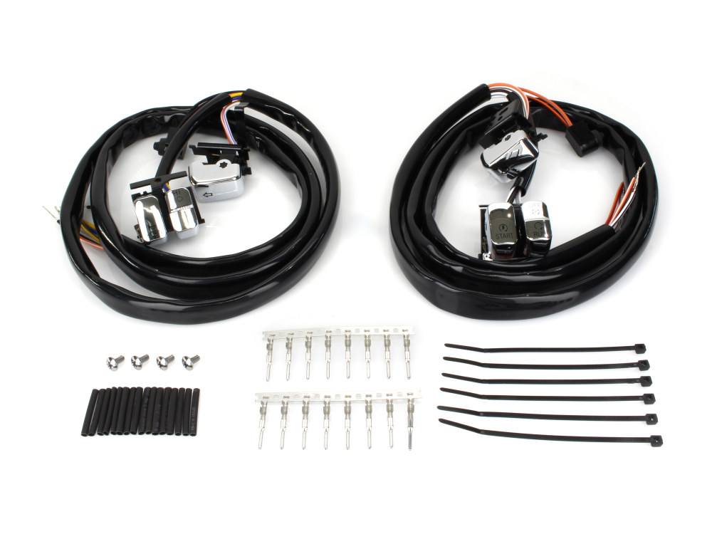 Handlebar Wiring Harness; Big Twin & Sportster 2007-10 with Chrome Switches