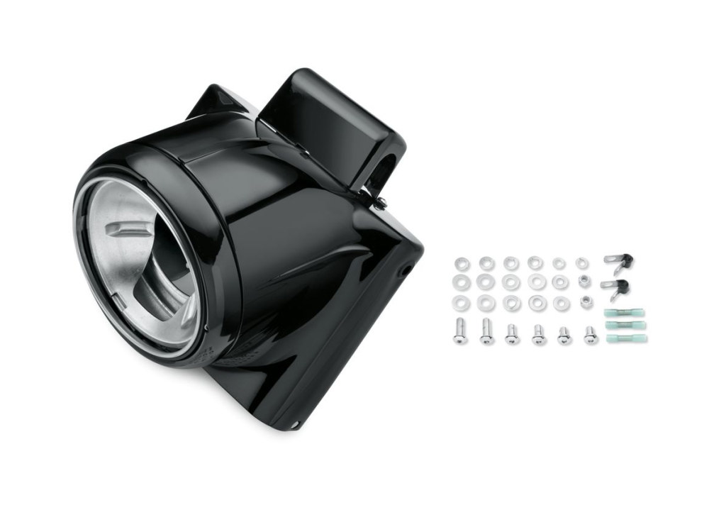 Freight Train Nacelle with Black Finish. Fits FL Softail 1986-2017.