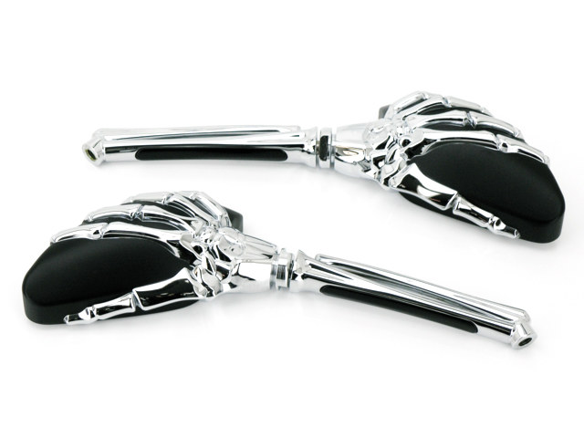 Mini Reaper Mirrors. Skeleton Hand, Chrome Stem with Black Head