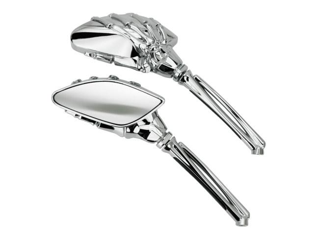 Mini Reaper Mirrors. Skeleton Hand, Chrome Stem with Chrome Head