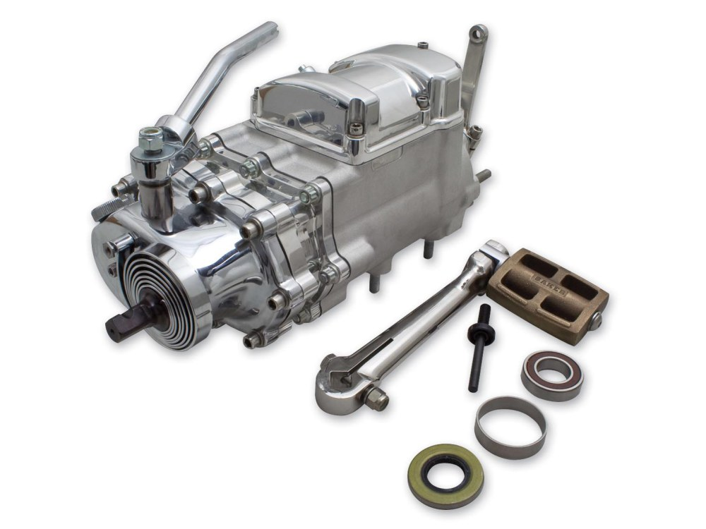 6-into-4 Signature Series Transmission Assembly with Kick Start Kit, Chain Sprocket, Primary Ear Case Mounts & Raw Finish. Fits Big Twin 1970-Early 1984.