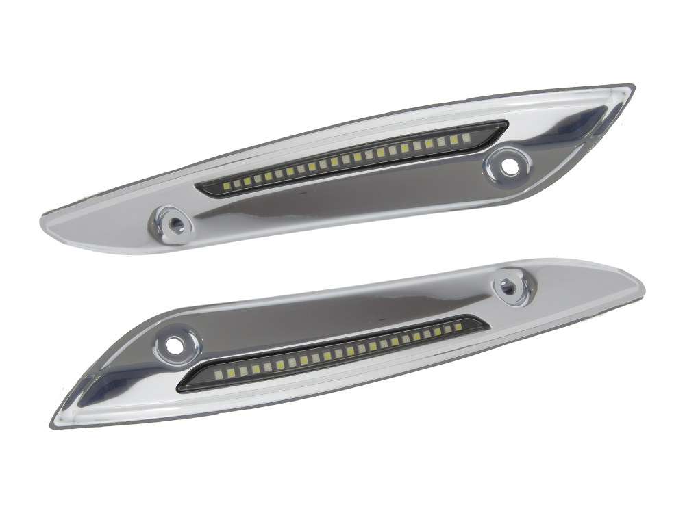 LED Dynamic Windshield Trim – Smoke Lens, Chrome Housing. With Sequential Amber Turn, White Run. Fits Road Glide 2015up.