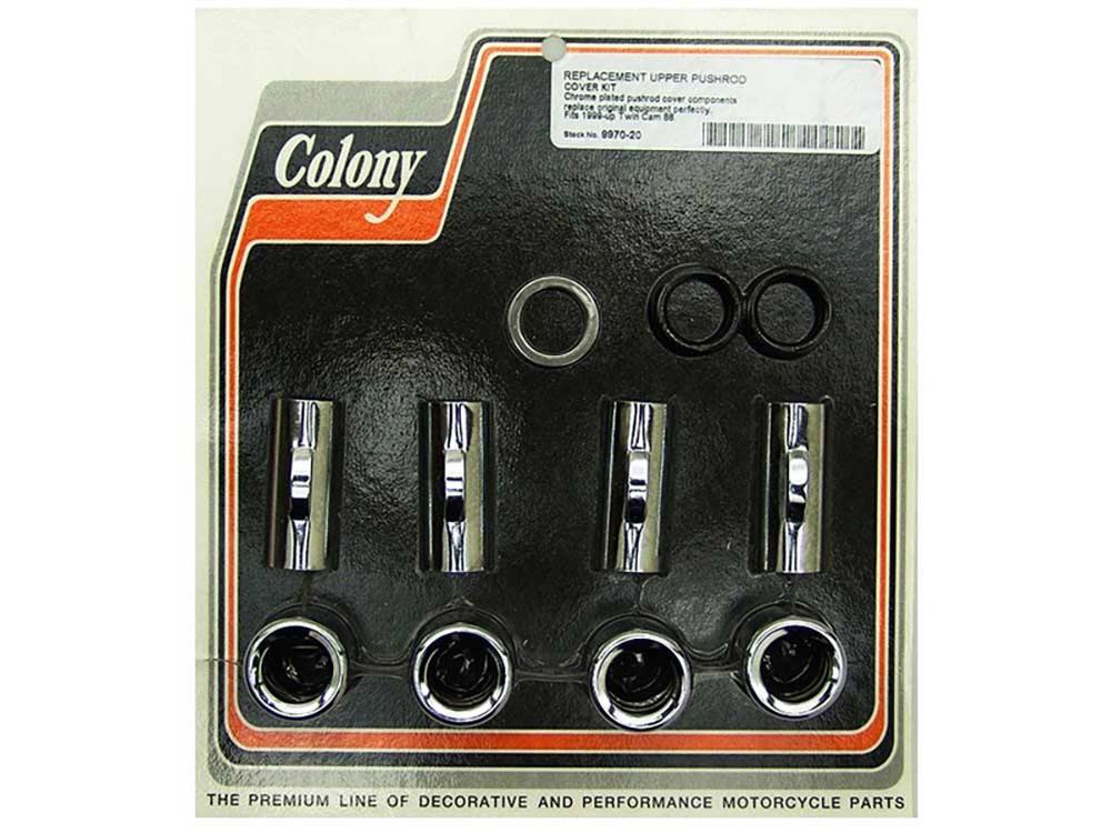 Colony Machine Pushrod Covers; Fits Big Twin'99up & M8'17up. Upper Application wth Chrome Finish. (Kit)