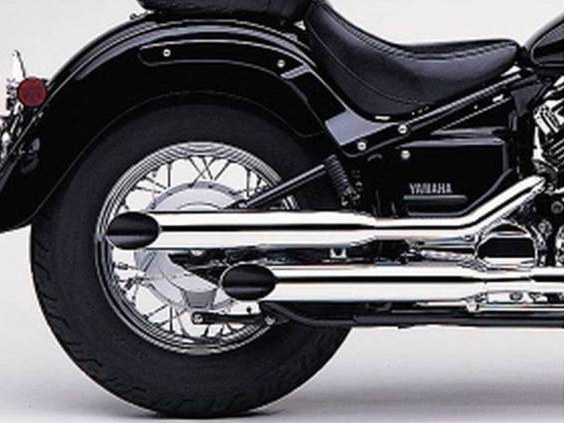 Exhaust with Slash Cut Mufflers - Chrome. Fits Yamaha V-Star XVS650 1998up.