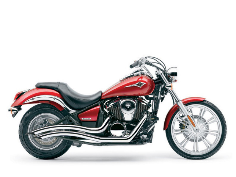 Speedster Swept Exhaust with Chrome Finish. Fits Kawasaki Vulcan 900 2006up.