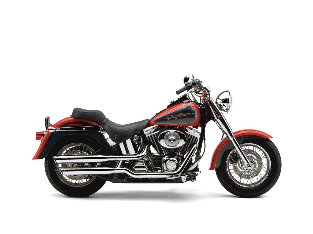 Slash Cut Mufflers - Chrome. Suits Softail Standard and Heritage Classic 2000-2006.
