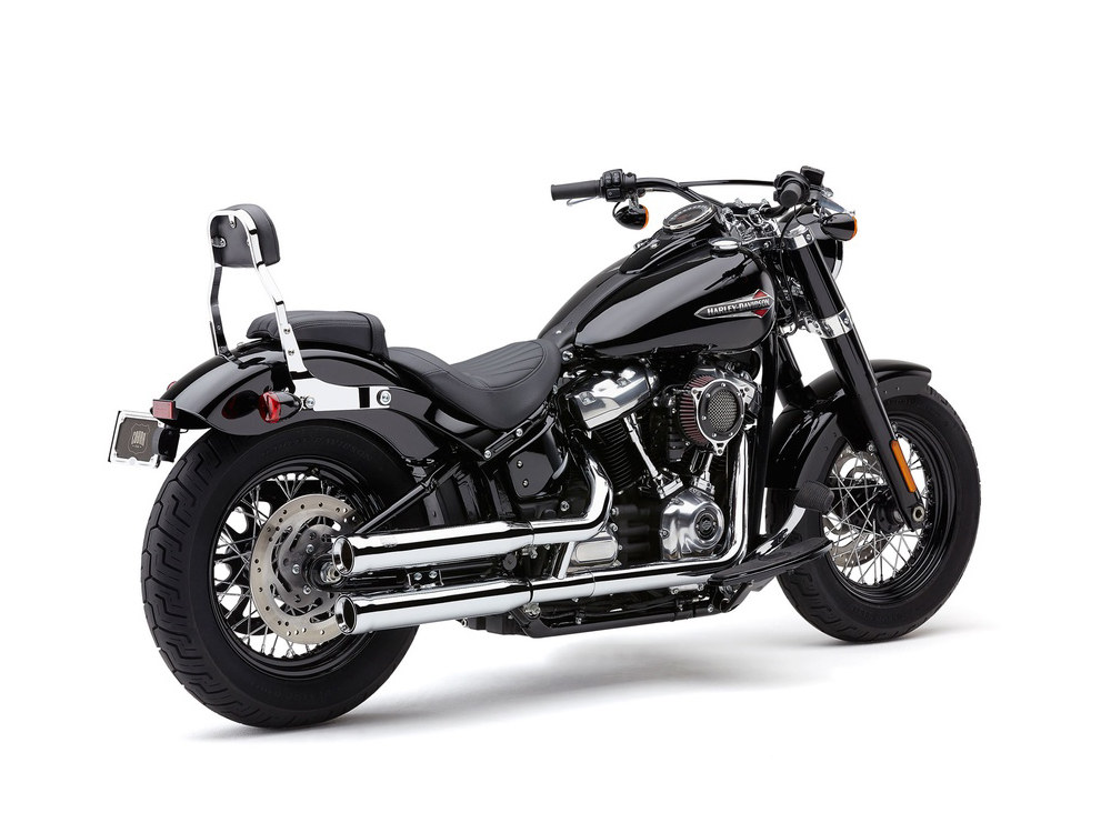 3in. Neighbour Hater Slip-On Mufflers - Chrome. Fits Softail Slim, Street Bob, Low Rider, Breakout & Fat Boy 2018up & Standard 2020up.