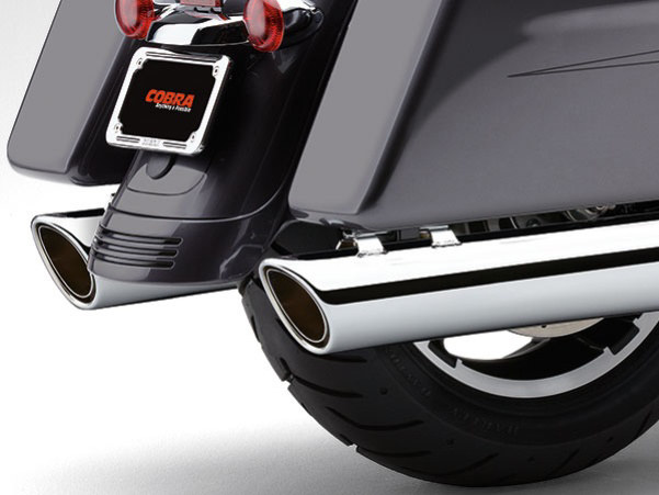 4in. 909 Back Slash Slip-On Mufflers - Chrome. Fits Touring 1995-2016 & Trike 2017-2020.