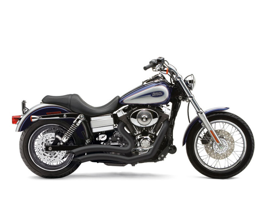 Speedster Short Swept Exhaust - Black. Fit Dyna 2006-2017.