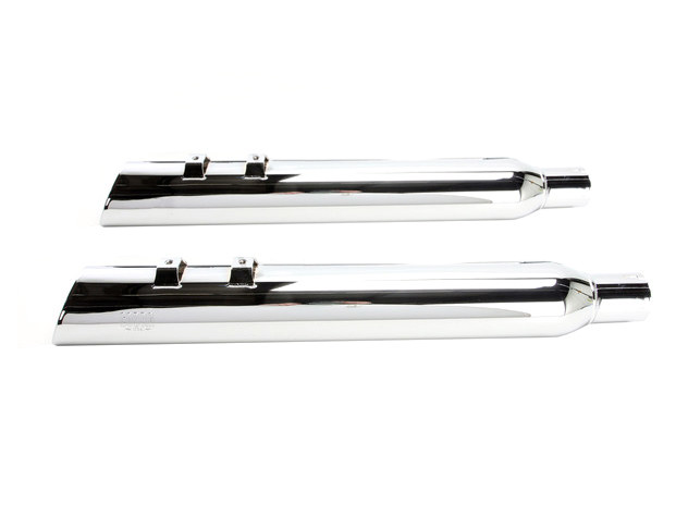 4in. 909 Uppercut Slip-On Mufflers - Chrome with Stainless Steel Tips. Fits Touring 2017up.