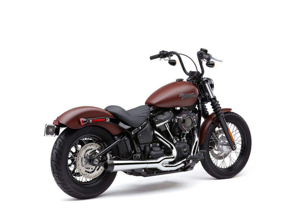 Chrome El Diablo 2-into-1 Exhaust System for most 2018up Softail non-240 tyre models. Includes Black End Cap.