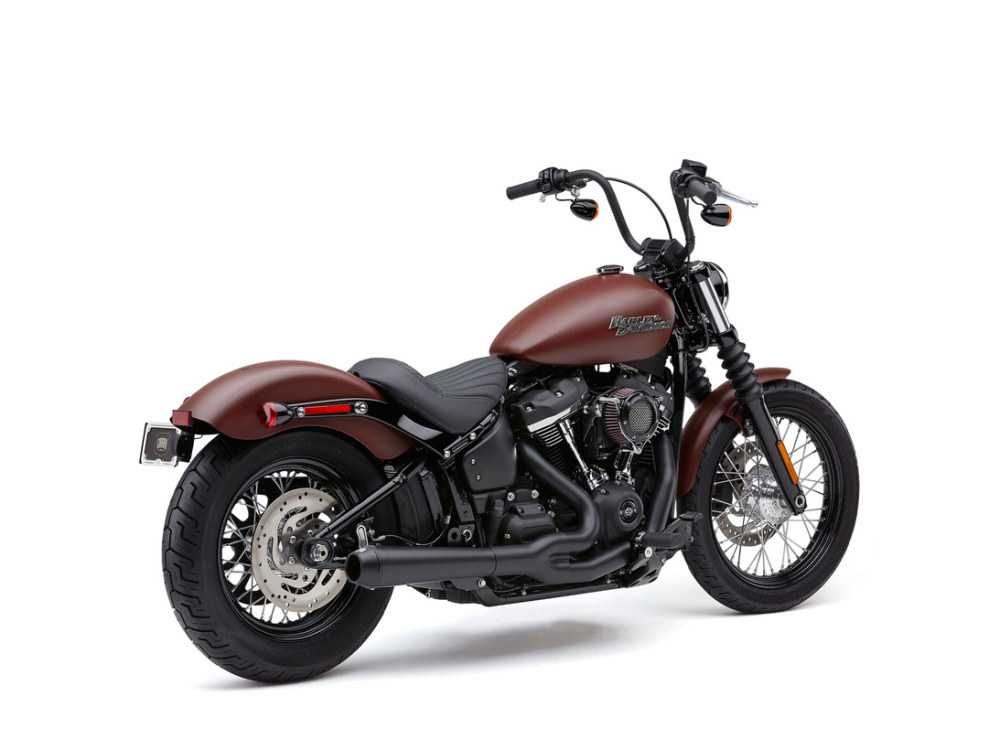 Black El Diablo 2-into-1 Exhaust System for most 2018up Softail non-240 tyre models. Includes Black End Cap.