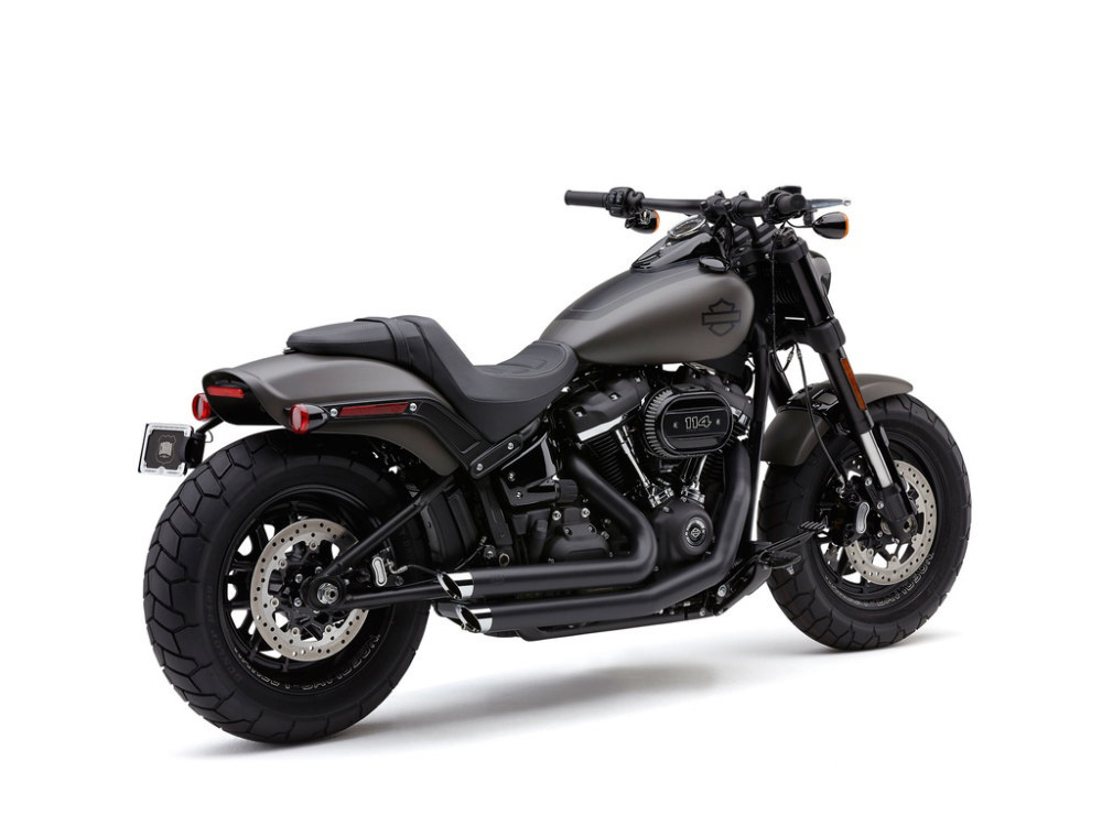 Speedster Slashdown Exhaust - Black with Chrome Tips. Fits Fat Bob 2018up.