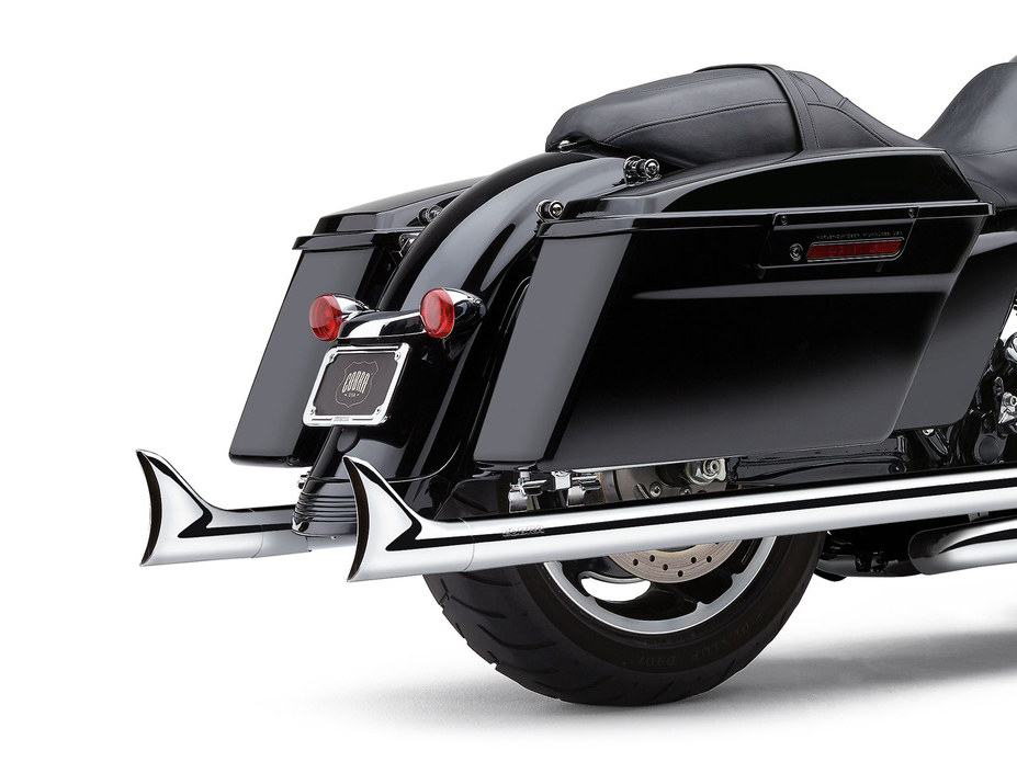 Speedster Dual Exhaust - Chrome with Chrome Fishtail Tips. Fits Touring 2017up.