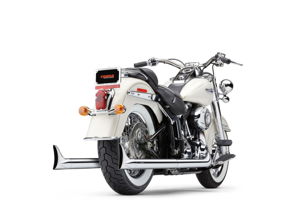 Bad Hombre True Dual Exhaust with Chrome Finish & Classic Fishtail Chrome Tips. Fits Softail 1997-2006.