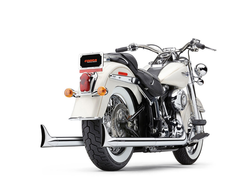 Bad Hombre True Dual Exhaust - Chrome with Chrome Classic Fishtail Tips. Fits Softail 2007-2017.