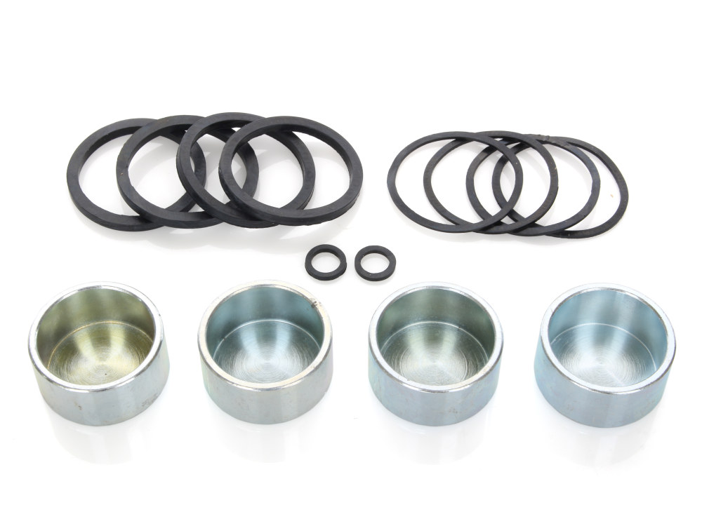 Front & Rear Caliper Rebuild Kit with Pistons & Seals.. Fits Big Twin 2000-2007 & Sportster 2000-2003 Models.