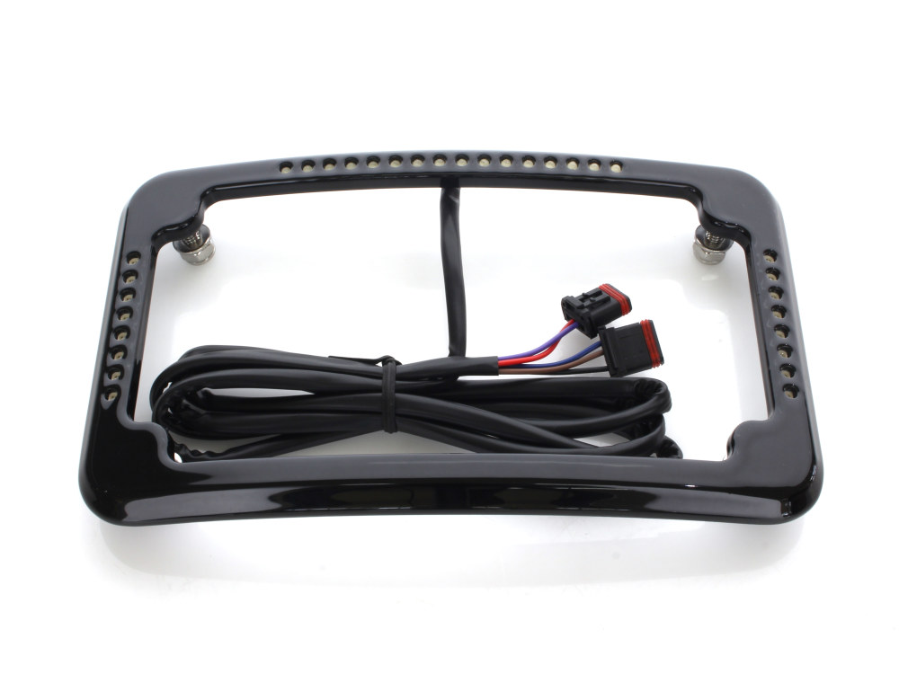 Curved Slick Signal Run/Turn/Brake Number Plate Frame Softail 2018up – Black