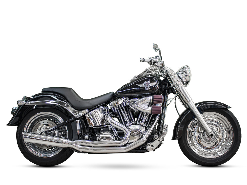 Boarzilla 2-into-1 Exhaust with Chrome Finish. Fits Softail 2000-2017 exc FXCW/FXSB