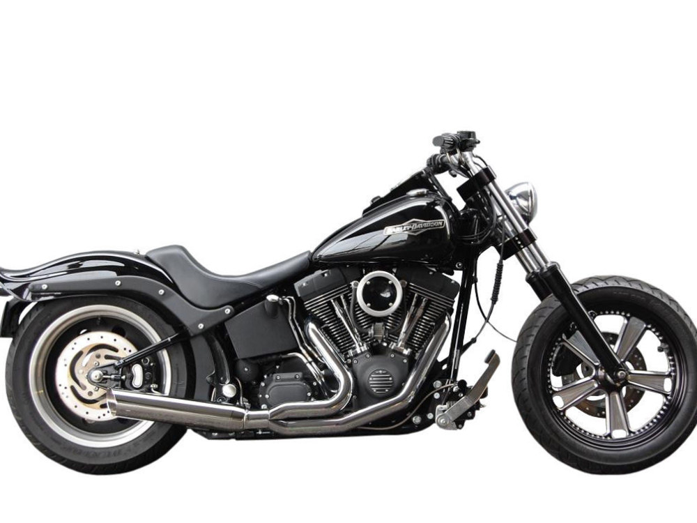 Low Cat 2-into-1 Exhaust with Chrome Finish. Fits Softail 2000-2017 & Rocker 2008-2011 Models.