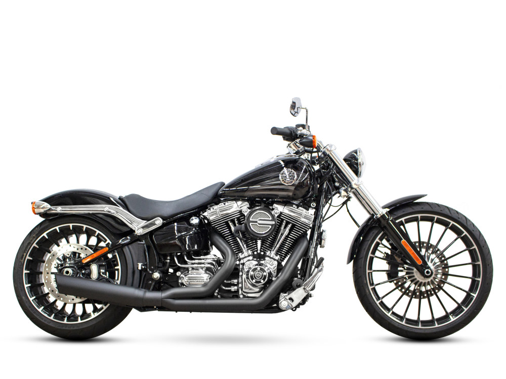Low Cat 2-into-1 Exhaust - Black. Fits Softail Breakout 2013-2017.