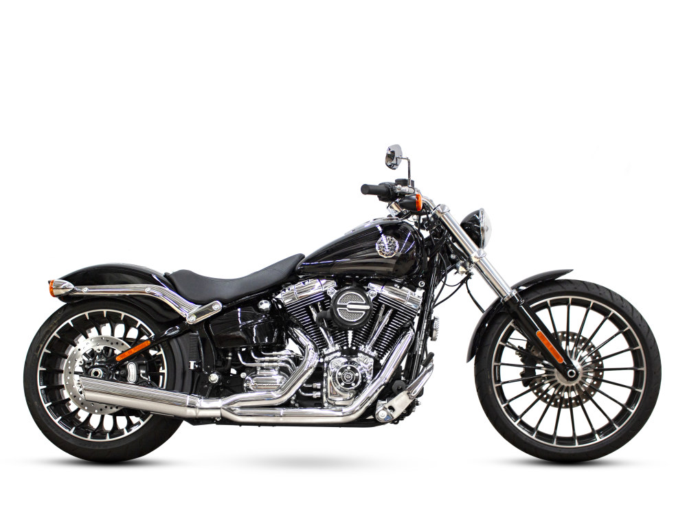Low Cat 2-into-1 Exhaust with Louvered Baffle & Chrome Finish. Fits Softail Breakout 2013-2017.