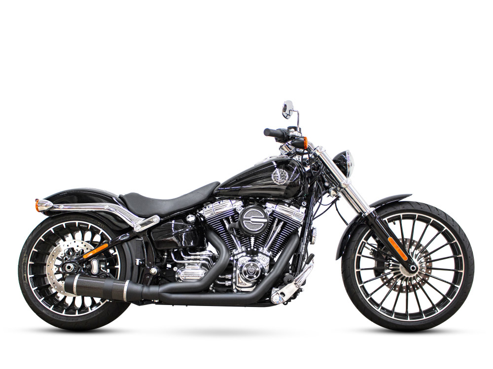 Bob Cat 2-into-1 Exhaust with Black Finish & Carbon Fibre Sleeve Muffler. Fits Softail Breakout 2013-2017.