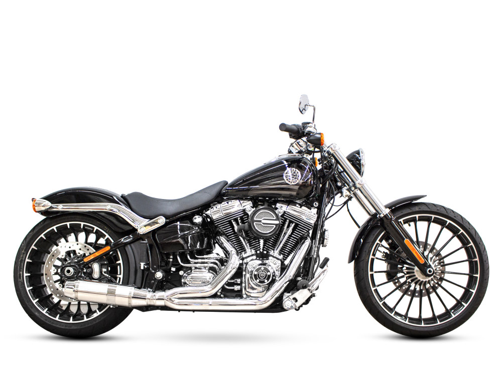 Bob Cat 2-into-1 Exhaust with Chrome Finish & Aluminium Sleeve Muffler. Fits Softail Breakout 2013-2017.