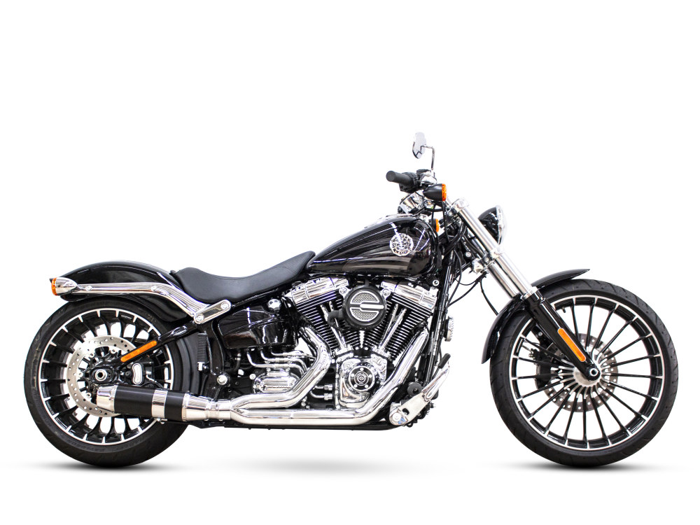 Bob Cat 2-into-1 Exhaust - Chrome with Black Sleeve Muffler. Fits Softail Breakout  2013-2017.