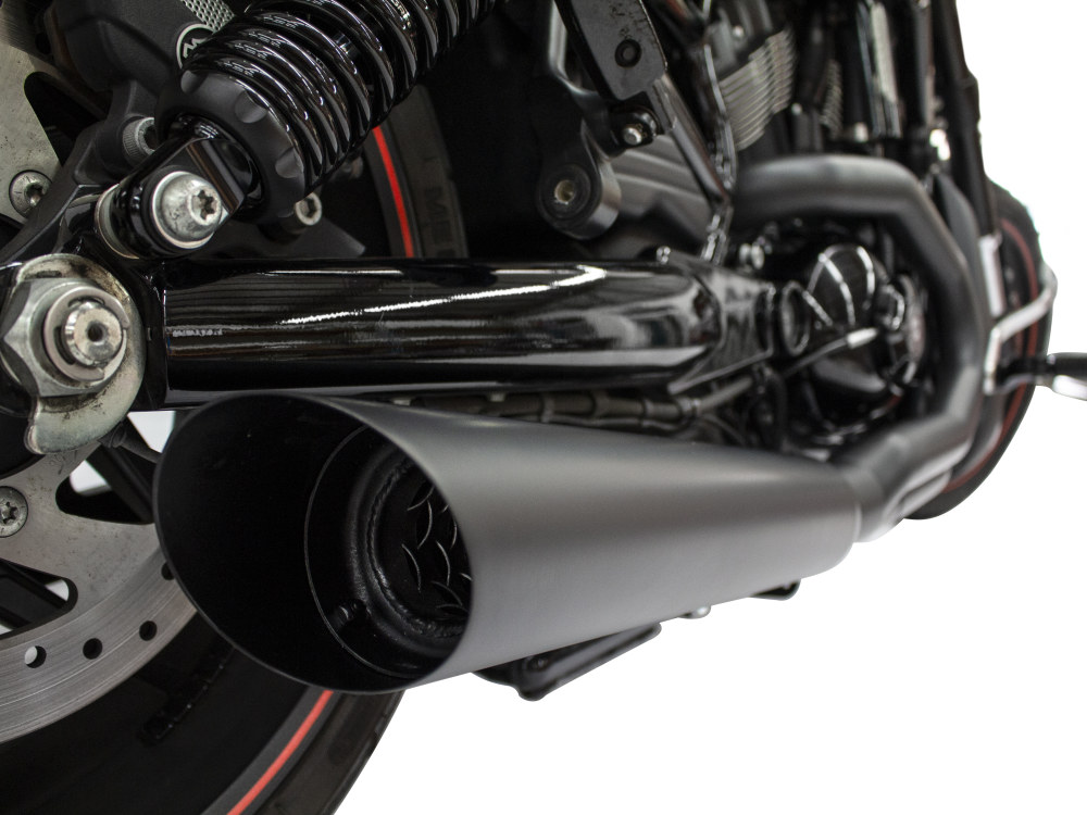 Fat Cat 2-into-1 Exhaust - Black. Fits V-Rod 2007-2017.