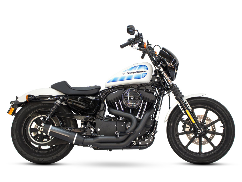 Bob Cat 2-into-1 Exhaust with Black Finish & Black Satin Sleeve Muffler. Fits Sportster 2004up including 883cc & 1200cc Models.
