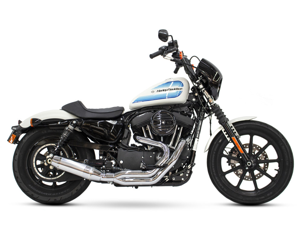 Bob Cat 2-into-1 Exhaust - Chrome with Aluminuim Sleeve Muffler. Fits Sportster 2004up.